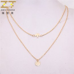 340ccfe7f51d80 2018 New Hot Fashion Round Sequins Double Layer Necklace Simple Bird Metal  Peace Dove Chokers Necklaces For Women Jewelry