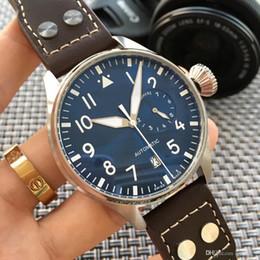 Men S Big Watch Australia - Wholesale - 2019 Top Quality Luxury Wristwatch Big Pilot Midnight Blue Dial Automatic Men&039;s Watch 46MM Men Mens Watch Watches.