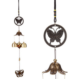 Discount butterfly wind chimes - Classical Metal Home Retro Butterfly Accessories Wind Chimes Indoor Garden Bells Ornaments Hanging Decor Support FBA Dro