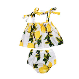 toddlers girls clothes 2018 - Newborn Baby Girls clothes off shoulder strap pullover Geometry sleeveless T-shirts lemon print Shorts 2pc cotton Toddle