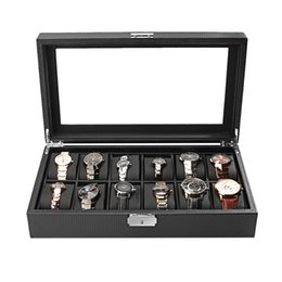 Chinese  Carbon Fiber High-Grade 12 Slots Luxury Display Design Jewelry Display Watch Box Storage Black Watch Holder Case manufacturers