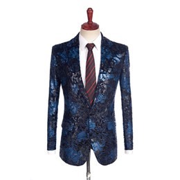 mens dress clothing UK - 2018 New Fashion Navy Blue Men's Suit Jacket British Style Suit Dress Men Printed Jackets Formal Mens Clothes