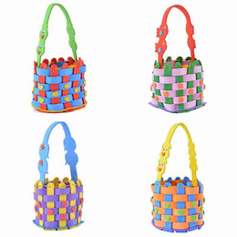 wholesale knitted toys 2019 - EVA Knitting Woven Basket Toys Baby Kids Children DIY Handmade Colorful Educatioanal Early Learning Gifts halloween bag