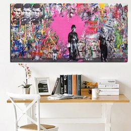 Art Canvas Prints Australia - 1 Piece Charlie Chaplin Street Pop Art Painting Poster Print on Canvas Graffiti Art Wall Picture for Living Room Cuadros No Framed