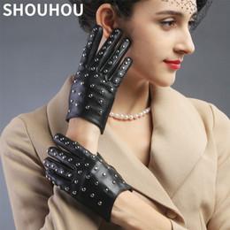 Rivets leatheR gloves online shopping - SHOUHOU Women Leather Gloves Female Genuine Sheepskin Leather Gloves Girls Dancing Rivet Christmas Gift Mittens
