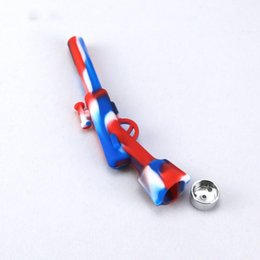 gun water pipes NZ - Pistol Design Silicone Mini Hand pipe Small Gun Style Water Pipe Handpipes Tilicone Silicone Pipe 420