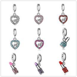 $enCountryForm.capitalKeyWord NZ - Free shipping new fashion love lipstick crystal pendant charms gifts for Mom fit pandora charms women men diy bracelet jewelry ZY003