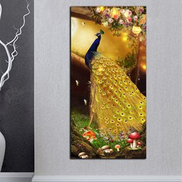 large flower canvas art prints 2019 - Large Posters HD Prints Golden Peacock Flowers On Canvas Modern Abstract Home Wall Art Pictures Set Home Decor For Livin