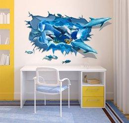 Vente en gros 3D Ocean Calcaire Cave Dauphin Salon Chambre peut se déplacer sauf Ameublement D'ameublement Étanche Wall Stickers