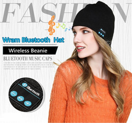 wholesale dark red ties 2019 - Bluetooth Hat Soft Warm Beanie Music Cap Stereo Wireless Hat Headphone Headset Speaker Microphone Handfree Bluetooth Sku