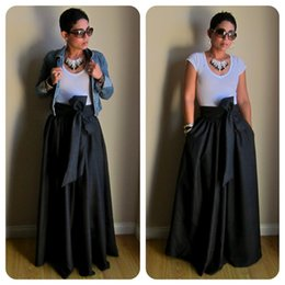 WBCTW Vintage Black Yellow Solid Cotton Bow Belt Maxi Skirts Womens 2018  Autumn TUTU Long Ball Gown Party Hiigh Waist Skirt S916 145fc7599
