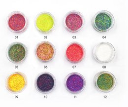 Shining Dust Glitter Australia - 1Box Holographic Glitter Powder Shining Sugar Glitter Dust Powder Manicure Nail Art Decoration 12 Colors