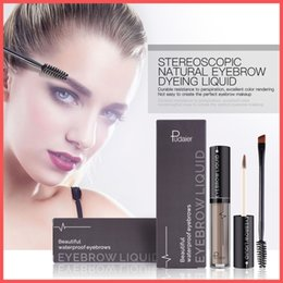 wholesale eye brow brushes NZ - Factory Direct DHL Free Pudaier Professional Eye Brow Tattoo Long Lasting Pigments Black Brown Waterproof Eyebrow Liquid Makeup with Brush