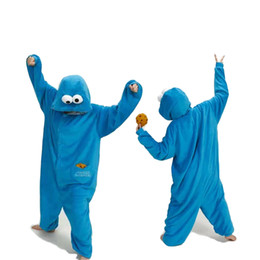 b1559ae5759f Blue Pajamas Sets Flannel Animal Pajamas Kigurumi Winter Stitch Sleepwear Women  Men Adults Nightie Cartoon Sesame Street Pajama