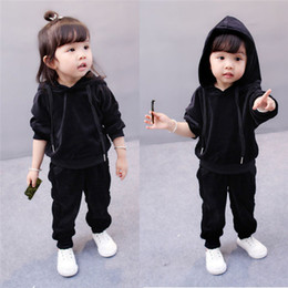 $enCountryForm.capitalKeyWord NZ - Spring Fall fashion children clothing toddler baby girl boy pleuche suits two piece set velvet tracksuit kid tops+pants warm