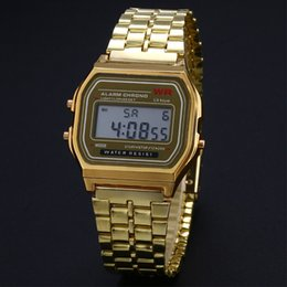 Wholesale Watch Business Golden Gold Watch Coperation Vintage Womens Men Dress watches Stainless Steel Digital Alarm Stopwatch Wrist Watch