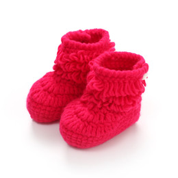 China Brand Baby Boots Soft Bottom Crochet Shoes Candy Color Knitting Baby Shoes Cotton Infant Toddler Boots For Boys Girls cheap knitting baby shoes suppliers