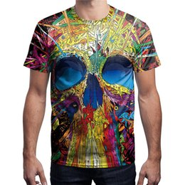 punk skull shirt Australia - Wholesale free shipping short sleeve 3D digital printing skull punk tops tshirt quick drying fitness tee shirts