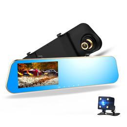 L910 Full HD 1080P двойной объектив автомобильный видеорегистратор 140 градусов 4.3-дюймовый G-сенсор мониторинг парковки Обнаружение движения один ключ блокировки цикла Записи на Распродаже