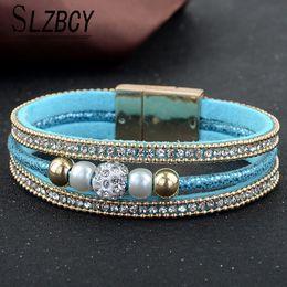 $enCountryForm.capitalKeyWord NZ - SLZBCY Fashion Velvet Multilayer Magnetic Bracelets for Women Men Pearl Crystal Beaded Bracelet Bangle Jewelry