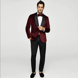red wine slim suit UK - 2018 wine red men suit for wedding evening party velvet custom blazer satin shawl lapel classic jacket slim fit formal 2 piece