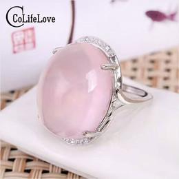 Rose Quartz Rings NZ - Vintage silver rose quartz ring 15mm*20mm big size gemstone ring solid 925 sterling fashion silver rose quartz
