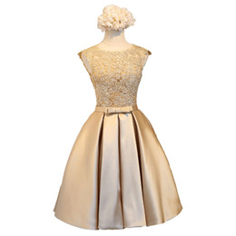 Chinese  Lace Satin Ball Gown Cocktail Dress Gold Knee Length Party Dresses New Short Bridesmaid Dresses Summer manufacturers