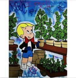 $enCountryForm.capitalKeyWord Australia - Alec Monopoly Handpainted &HD Print Graffiti Pop Art oil painting Richie Rich Money On Canvas Home Decor Wall Art Multi Sizes g74