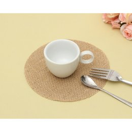 $enCountryForm.capitalKeyWord NZ - 10Pcs Linen Coaster Natural Jute Placemat Tea Coffee Mug Drinks Holder Pad Tableware Decor Round Placemats Home Table Mat