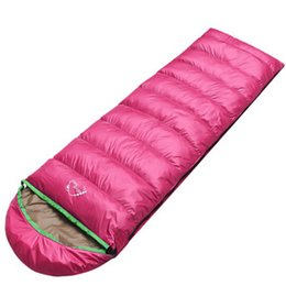 Discount down envelope sleeping bags - Outdoor Ultra-Compactable Lightweight adults eider down Sleeping Bag Camping Envelope thickened Sleeping bags with hood