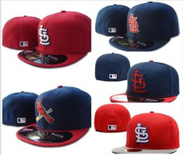 Discount black baseball caps - Top Quality Men's red color on field fitted hat embroiered team logo fans summer baseball Hat full closed Chapeu br