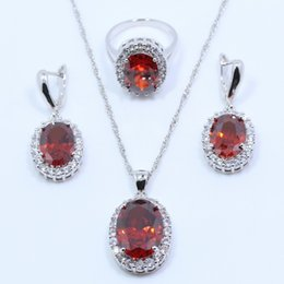 b71cb730e0fb29 ... 925 Sterling Silver Wedding. whole saleTop Quality Red Garnet 925  Sterling Silver Wedding Bride Jewelry Sets For Women Earring Necklace  Pendant Ring ...