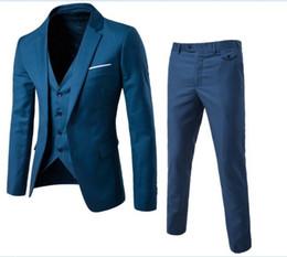 Large Lapel Suits Australia - Blazers Pants Vest 3 Pieces Social Suit Men Fashion Solid Business Suit Set Casual Large Size Mens Wedding Suits 6XL