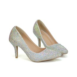 60cb1640468f 2018 AB Crystal Wedding Party Shoes Pointed Toe Women Pumps 3 Inches  Comfortable Thin Heel Cinderella Event Prom Shoes Size 42