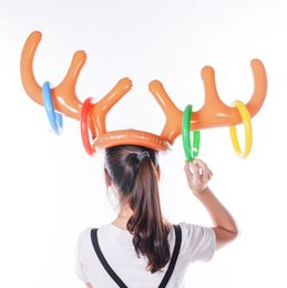 Reindeer Kids NZ - 300pcs Inflatable Reindeer Antler Ring Hat Toss Game for Children Kids Christmas Holiday Party Game Supply Christmas Gifts