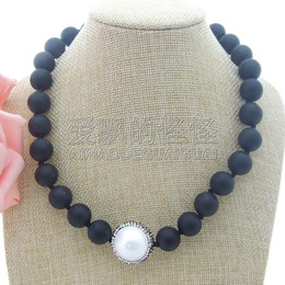 necklaces pendants Australia - N042407 18''Round Black Stone CZ Pendant Necklace