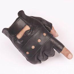 Leather Gloves For Men Australia - Fashion Half Finger Gloves Leather Biker Driving Gloves For Women and Men Black Summer Gothic Punk Style Fingerless
