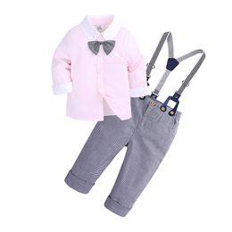 f04522cacb5 New fashion Boys Long Sleeve Shirt Bib Pants Gentleman Set Baby Gentleman  Outing Service Festival Dress