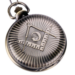 "Discount antique covers - Classic Masonic Pocket Watch Big ""G"" Symbol Cover Thick Fob Chain Cool Free-Manson Pendant Clocks Special Gift"