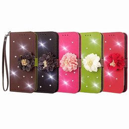 Lg diamond waLLet online shopping - 3D Flower Leather Wallet Case For Iphone XS MAX XR X Plus Galaxy S9 Bling Diamond Rhinestone Leaf Card Slot Flip Cover Coque Strap