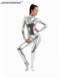 Lycra Catsuit Costume Australia - Womens Shiny Metallic Lycra Spandex Unitard Bodysuit Nylon Long Sleeve Footed Zipper Turtleneck Unitard Catsuit Zentai Costume
