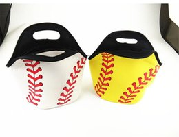Cool tote lunCh bag online shopping - Neoprene Baseball Lunch Bag Sports Softball Tote Insulated Cooler Bags Men Women Students Kids Food Carrier Storage Bag Waterproof Handbag