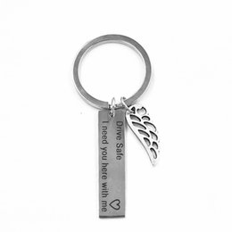 Personalized Gifts Boyfriends Canada - Wing and Car Shaped Personalized Keychain Wing Drive Safe Boyfriend Gift