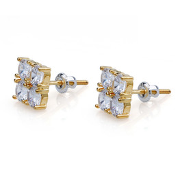 Vintage copper earrings dangle online shopping - Hiphop Stud earrings for women men Luxury boho cm Zircon Square Dangle earrings gold plated Vintage geometric Jewelry