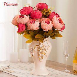 $enCountryForm.capitalKeyWord NZ - 2019 Hot Sale wholsale vivid Artificial Autumn Silk peony flowers wholesale 51cm for Wedding Party Bouquet Decoration