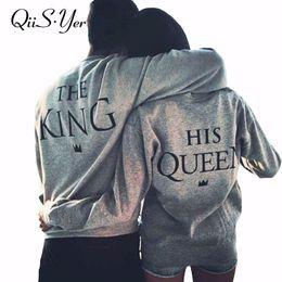 $enCountryForm.capitalKeyWord Australia - Men Women Fashion Casual Lovers Hoodies Letter The King His Queen Print Couples Grey Black Sweatshirt Pullovers Sudadera