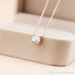 Necklaces Pendants Australia - 316L Titanium steel Best price pendant necklace with Super Cute Lucky One big square diamond for women wedding gift Jewelry PS5032