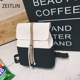 Backpack Stitching Canada - ZEITLIN 2017 Vintage Canvas Backpacks Fashion Stitching Ladies Shoulder Bag Sac Femme Casual School Student Travel Bag S231