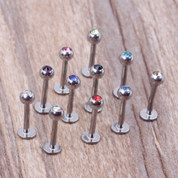Ball Top Labret Bars Titanium Plated Stainless Steel Tragus Earring Lip Piercing