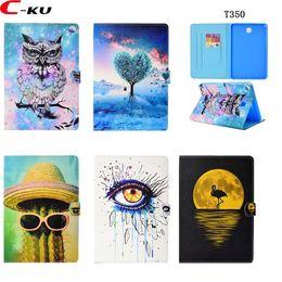 "Case Samsung Tab4 Australia - Cartoon Wallet Leather Case For Samsung Galaxy Tab A T350 8.0 T380 Tab4 T530 10.1"" T550 T580 T820 Smart Cactus Owl Tree Eye Skin Cover 50pcs"